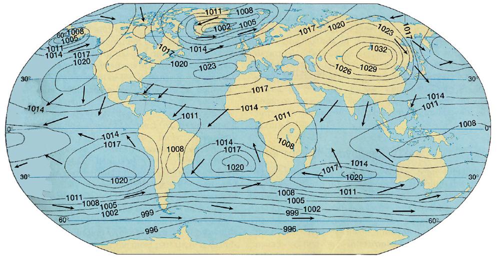Ocak Ayı Dünya Basınç Dağılımı